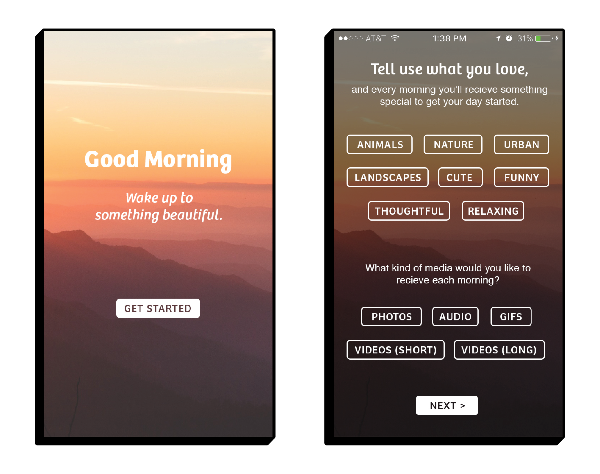 Good Morning welcome and setup screen